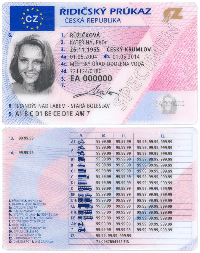 Замена водительского удостоверения в Чехии